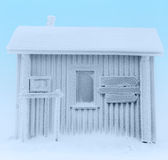 Frozen house. Hut completely covered in frost. Finnish Lapland Royalty Free Stock Photos