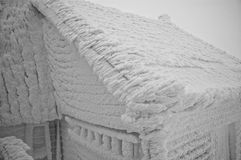 Frozen house at winter Stock Photos