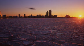 Frozen hudson river ,new york Stock Images