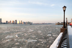 Frozen Hudson River in NYC. View Looking North along the Frozen Hudson River Stock Photo