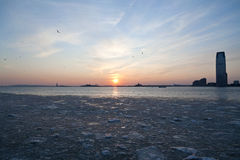 Frozen Hudson River under NYC Sunset Royalty Free Stock Photos