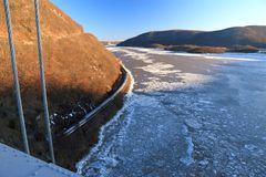 Frozen Hudson and Train Royalty Free Stock Image