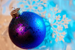 Frozen ice ball decoration with snowflake close up Stock Image