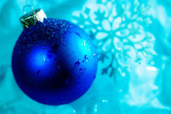 Frozen ice ball decoration with snowflake close up Royalty Free Stock Photos