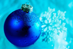 Frozen ice ball decoration with snowflake close up Royalty Free Stock Image