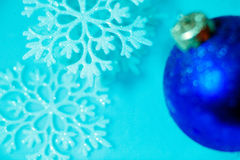 Frozen ice ball decoration with snowflake close up Stock Images