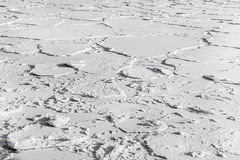Frozen ice beneath in white snow Stock Images