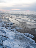 Frozen ice blocks in the sea. In winter Stock Images