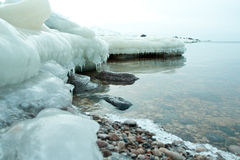 Frozen ice blocks in the sea. In winter Royalty Free Stock Image