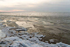 Frozen ice blocks in the sea. In winter Stock Photography