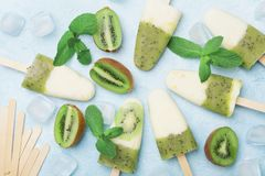 Frozen ice cream or popsicles from kiwi smoothie and yogurt decorated with mint and ice. Top view. Summer food. Royalty Free Stock Photo