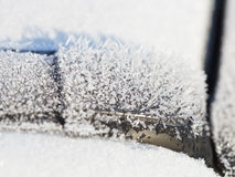 Frozen ice crystals close up on car Stock Photography