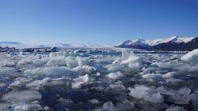 Frozen Ice lake Jökullsarlon. Frozen Icebergs floating in Jökulsarlon glacier lake in Iceland stock photography