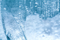 Frozen ice macro view. Icy pattern background. Royalty Free Stock Images