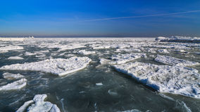 Frozen ice ocean coast - polar winter Royalty Free Stock Images
