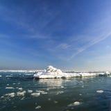 Frozen ice ocean coast - polar winter Stock Photos