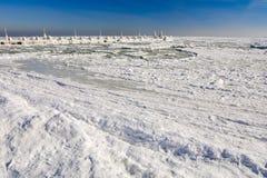 Frozen ice ocean coast - polar winter Royalty Free Stock Images