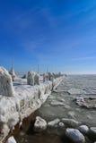 Frozen ice ocean coast - polar winter Royalty Free Stock Photo