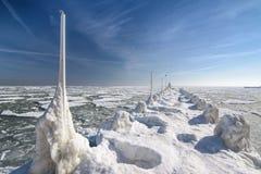 Frozen ice ocean coast - polar winter Royalty Free Stock Image