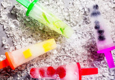 Frozen Ice Pops Made with Fresh Fruit Stock Images