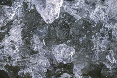 Frozen ice on the river stock photography
