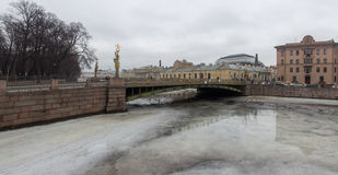 Frozen with ice river cityscape panorama royalty free stock photo