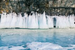 Frozen ice on rock in Baikal southern Siberia water lake Stock Photography