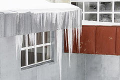 Frozen ice on roof Royalty Free Stock Photo