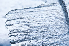 Frozen ice texture macro view. Cold winter icy background. Soft focus Stock Photos
