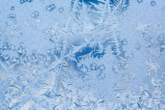 Frozen ice window texture, snowflakes and icy background, close-up, soft focus. Photo Royalty Free Stock Photo