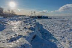 Frozen iceberg, lake Erie ohio stock image