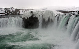 Frozen Icelandic waterfall - Godafoss Stock Photos