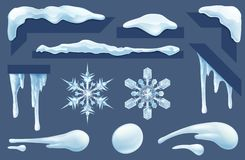 Frozen Icicles Ice and Snow Winter Design Elements. Set of frozen icicles, ice and snow winter design elements. Includes snowflakes and snowballs royalty free illustration