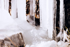 Frozen icicles on mountains Royalty Free Stock Photos