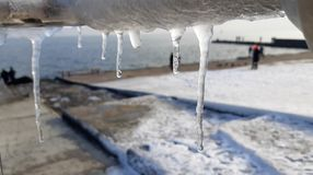 The frozen icicles of sea water. Icy handrails of the embankment in Odessa, Ukraine. cold icicle of winter sea. Winter landscape with icy fence on the background royalty free stock photography
