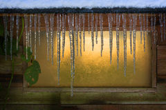 Frozen Icicles on a Window Royalty Free Stock Image