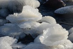 Frozen, icy Baltic Sea coast 19. Baltic Sea coast covered with a lot of shining ice cubes like diamonds on the sand and water surface. Waves are frozen in the stock images