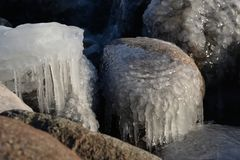 Frozen, icy Baltic Sea coast 23 royalty free stock image