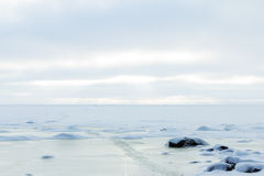 Frozen Icy coastline of the bay Stock Photography