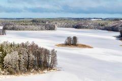 Frozen Jedzelewo Lake. Frozen Jedzelwo Lake in winter. Masuria, Stare Juchy Stock Photo
