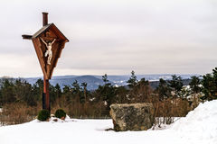 Frozen Jesus. At Mountain Marienberg, Cross with Jesus Royalty Free Stock Photography