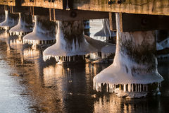 Frozen jetty on a river in winter Stock Photography