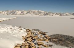 Frozen Jordanelle Reservoir Royalty Free Stock Photography