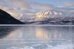 Frozen Kenai Lake Seward Hwy Alaska Wilderness Stock Photo