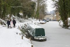 Frozen Kennet and Avon Canal in Bath 2018 Royalty Free Stock Image