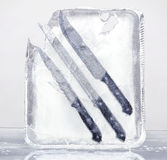 Frozen knives set 2 Stock Photo