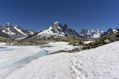Frozen Lac Blanc lake on the background of Mont Blanc massif. Frozen Lac Blanc lake on the background of Mont Blanc massif Royalty Free Stock Photos
