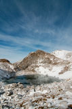 Frozen lake. In winter, Slovenia, Julian Alps Stock Images