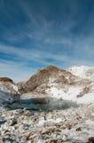 Frozen lake. In winter, Slovenia, Julian Alps stock images