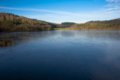 Frozen Lake. With Pine tree forest Royalty Free Stock Images